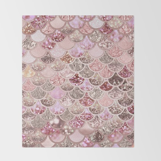 Rose Gold Blush Glitter Ombre Mermaid Scales Pattern by betterhome