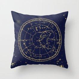 Metallic Gold Vintage Star Map 3 Throw Pillow