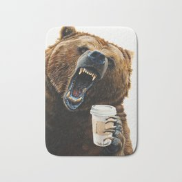 """"""" Grizzly Mornings """" give that bear some coffee Bath Mat"""
