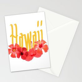 Hawaii Text With Aloha Hibiscus Garland Stationery Cards