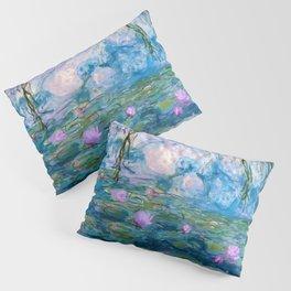Water Lilies Monet Teal Pillow Sham