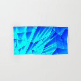 Bright sunshine on celestial and blue triangles of irregular shape. Hand & Bath Towel