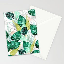 Tropical jungle white Stationery Cards