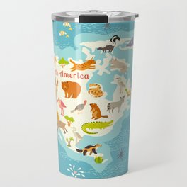 Animals world map, North America. Colorful cartoon vector illustration for children and kids. Presch Travel Mug