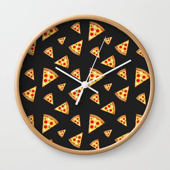 1a4e7598171cb1 Cool and fun pizza slices pattern Wall Clock by pldesign | Society6