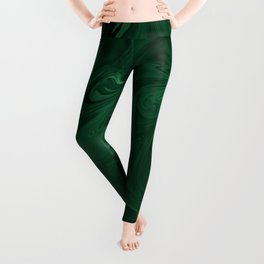 Modern Cotemporary Emerald Green Abstract Leggings