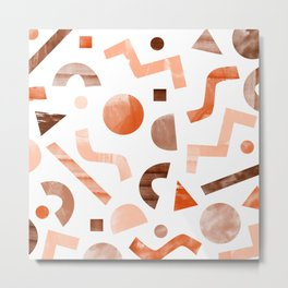 geometric shapes peach Metal Print