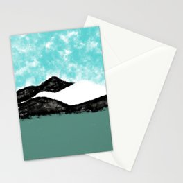 Artistic teal black white olive green watercolor mountain Stationery Cards