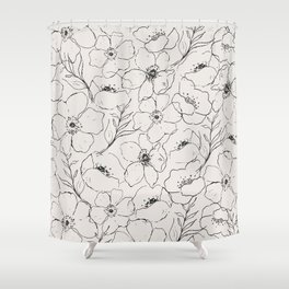 Floral Simplicity - Neutral Black Shower Curtain