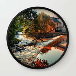 The river, a country house and reflections | waterscape photography Wall Clock