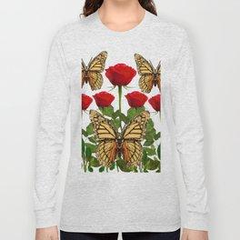RED ROSES  & MONARCH BUTTERFLIES ART Long Sleeve T-shirt