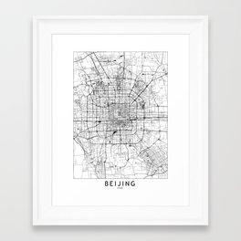 Beijing White Map Framed Art Print