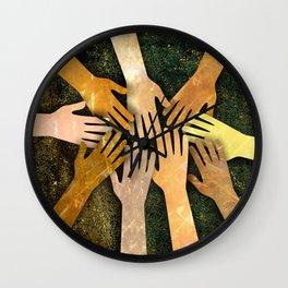 Grunge Community of Hands Wall Clock