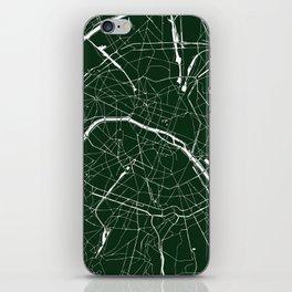 Paris France Minimal Street Map - Forest Green iPhone Skin