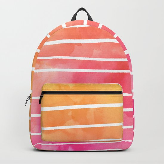 Modern pink yellow sunset watercolor ombre stripes pattern Backpack