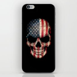 American Flag Skull on Black iPhone Skin