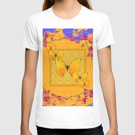 Golden Yellow Butterflies Orchid Sprays Purple Lilac Patterns T-shirt