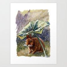 Funny Rabbits - In The Rain 551 Art Print