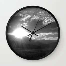 Black and White Wyoming Sunset over the Beartooth Mountains Wall Clock