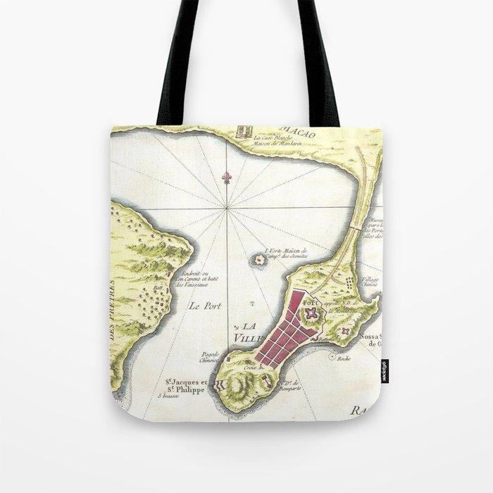 Vintage Map Of Macau China 1750 Tote Bag By Bravuramedia Society6