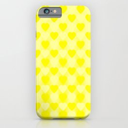 Zigzag of yellow hearts staggered on a light background. iPhone Case