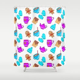 Lovely gingerbread men cookies, chocolate, hot cocoa with marshmallows, cozy homey winter pattern Shower Curtain