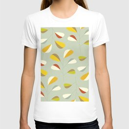 Mid Century Modern Graphic Leaves Pattern 1. Vintage green T-shirt