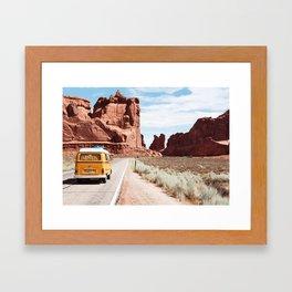 Yellow Van Desert Road Trip Photography Framed Art Print