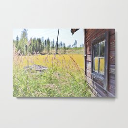 Late summer field view with old log cabin Metal Print