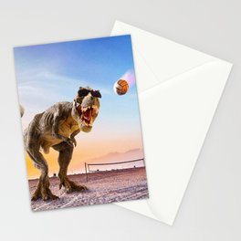 Funny T-Rex Dinosaur Playing Volleyball Stationery Cards