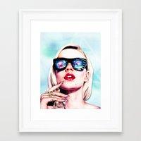 iggy azalea Framed Art Prints featuring Iggy Azalea- Blue  by Tiffany Taimoorazy