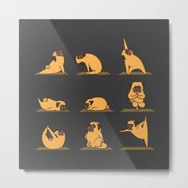 Pug Yoga // Black Metal Print
