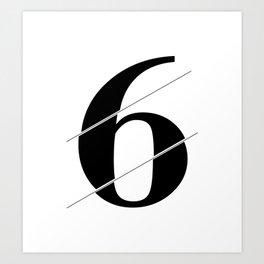 """Sliced Collection"" - Minimal Number Six Print Art Print"