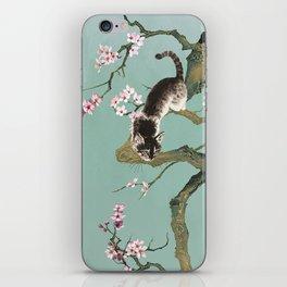 Fortune Cat In Cherry Tree iPhone Skin