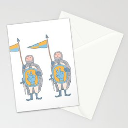 Knights in armour with shield and sword. Stationery Cards