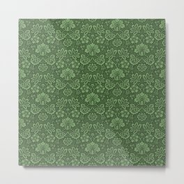 Damask in Green Metal Print