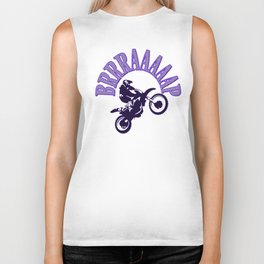 Brrraaaaap Blue Checkered Flag Moto Language Biker Tank