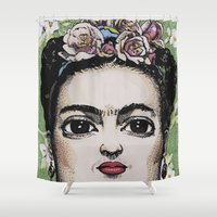 frida kahlo Shower Curtains featuring Frida Kahlo by Drawn by Nina