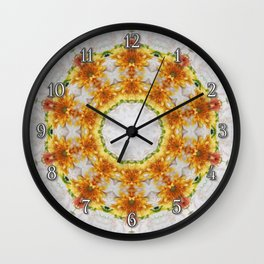 Gold Chrysanthemum Kaleidoscope Art 4 Wall Clock