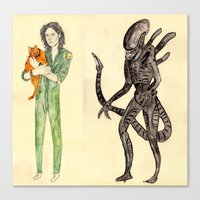 alien Canvas Prints featuring \ALIEN/ by withapencilinhand