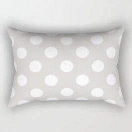Timberwolf - grey - White Polka Dots - Pois Pattern Rectangular Pillow