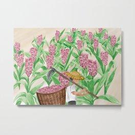 Watercolor Illustration of a farmer harvesting in his plantation Metal Print