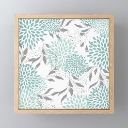 Festive, Floral Blooms and Leaves, Teal and Gray Framed Mini Art Print