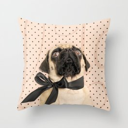 Trés Chic Pug Throw Pillow