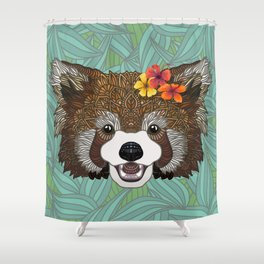 Tropical Red Panda Shower Curtain