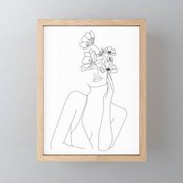 Minimal Line Art Woman with Flowers Framed Mini Art Print