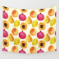 fruits Wall Tapestries featuring Fruits by Alexandra Dzh
