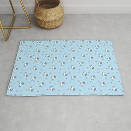 Cute Dachshund Unicorn + Hearts Pattern (Blue) | Adorable Sausage dog Unicorns Rug