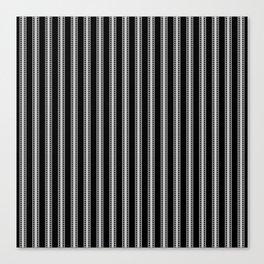 Black and White French Fleur de Lis in Mattress Ticking Stripe Canvas Print