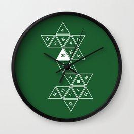 Green Unrolled D20 Wall Clock
